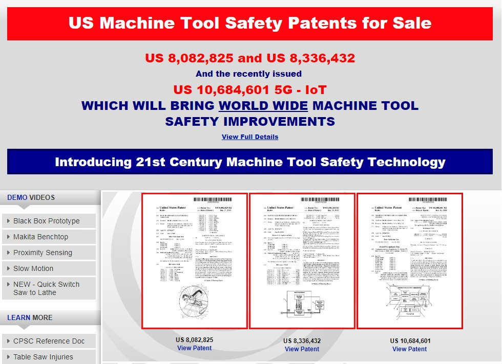 Inventor, David Butler, three patents for sale. Revolutionize machine tool safety standards worldwide