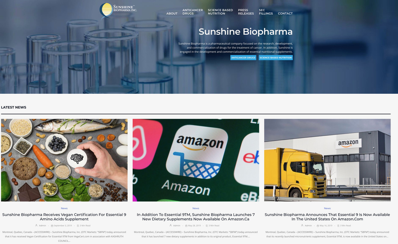 Triple Play BioPharma Company: Sunshine Biopharma (Stock Symbol: SBFM) in High Value Sectors of Cancer Treatments, Science-Based Supplements and a Key Anti-Coronavirus Drug