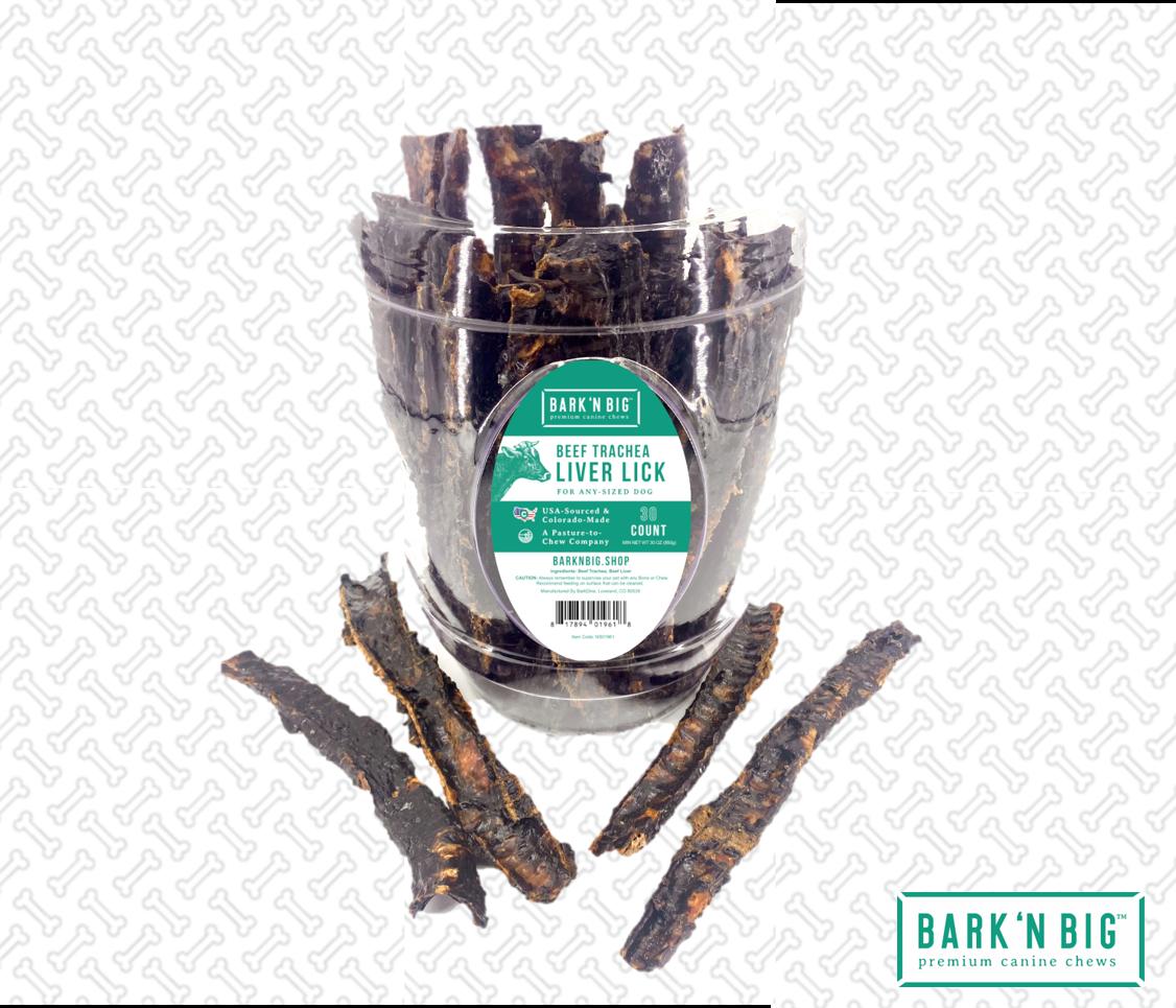 BarknBig Liver Lick Beef Trachea Strip Barrel